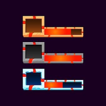 Conjunto de gui de madeira, pedra e barra de lava de gelo com moldura para elementos de recursos de interface do usuário do jogo