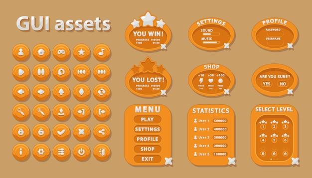 Conjunto de gui para o design da interface do usuário de jogos e aplicativos