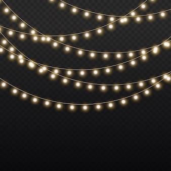 Conjunto de guirlanda brilhante de natal dourado lâmpada de néon de festa de ano novo decoração de luzes de natal