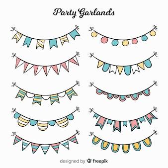 Conjunto de guirlanda de festa de mão desenhada