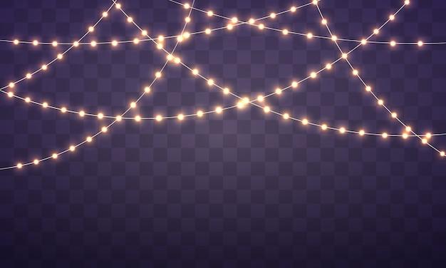 Conjunto de guirlanda de luz brilhante realista