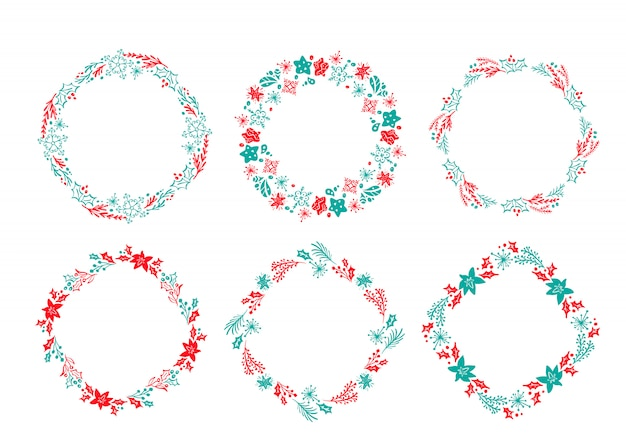 Conjunto de guirlanda de natal escandinavo mão desenhada