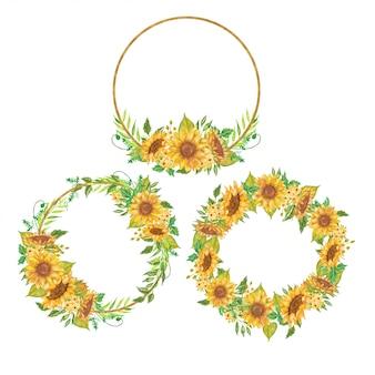 Conjunto de guirlanda floral aquarela girassol amarelo