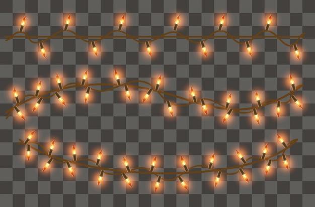 Conjunto de guirlanda realista de luzes cintilantes em um transparente
