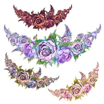 Conjunto de guirlandas de aquarela de flores de peônias de rosas e lilases.