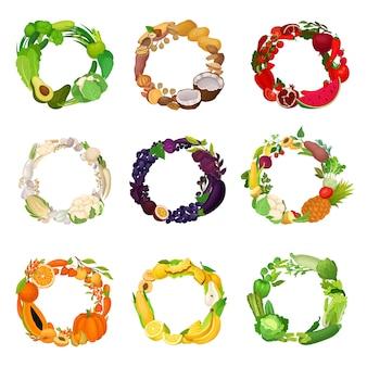 Conjunto de guirlandas de frutas e legumes de cores diferentes. ilustração.
