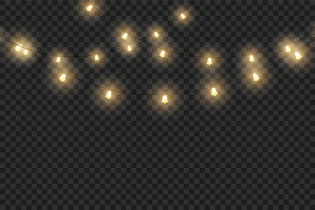 Conjunto de guirlandas de lâmpadas de luz quente, decorações do feriado. luzes brilhantes de natal isoladas em fundo transparente. redondo, estrelas e pequenas lâmpadas.