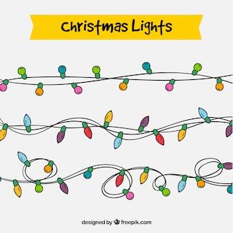 Conjunto de guirlandas de luzes desenhadas a mão