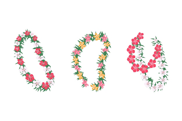 Conjunto de guirlandas florais tropicais havaianas, ilustração dos desenhos animados, isolada no fundo branco. guirlandas de casamento e férias com flores tropicais.