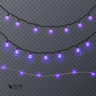 Conjunto de guirlandas roxas, decorações festivas. luzes brilhantes de natal isoladas em fundo transparente. ilustração