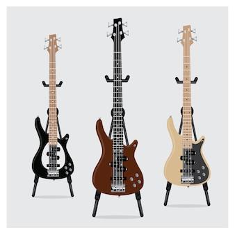 Conjunto de guitarra baixo elétrico com suporte