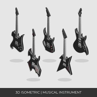 Conjunto de guitarra elétrica isométrica 3d personalizado