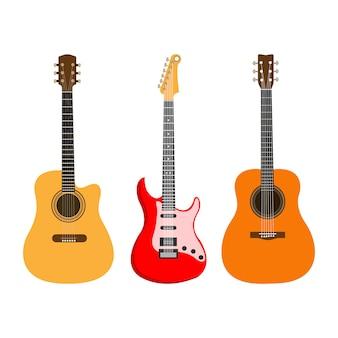 Conjunto de guitarras acústicas e elétricas