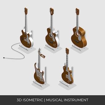 Conjunto de guitarras acústicas isométricas 3d personalizadas