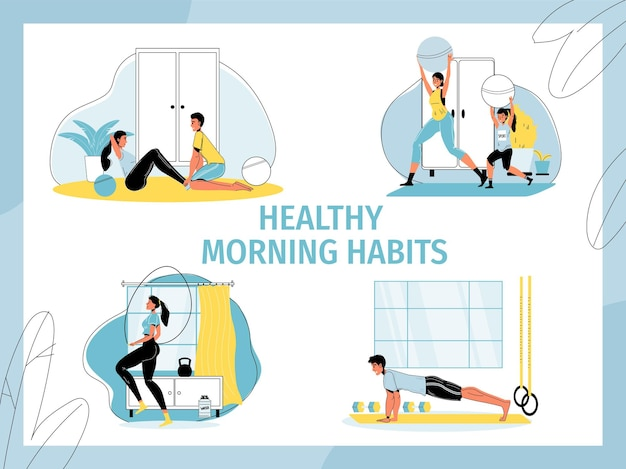 Conjunto de hábitos matinais saudáveis