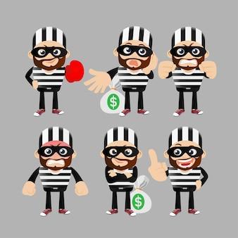 Conjunto de hacker e ladrão em diferentes poses