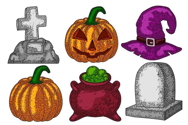 Conjunto de halloween com abóbora assustadora, caldeirão e chapéu de bruxa, lápide.