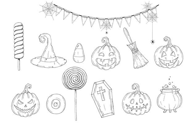 Conjunto de halloween com abóbora jack de mão desenhada, chapéu de bruxa, vassoura, doces, milho doce, guirlanda festiva com teia, doces, pirulitos, caixão, pote com poção no estilo de desenho. feliz dia das bruxas. doçura ou travessura