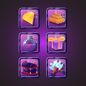 Conjunto de halloween com borda de quadro para elementos de recursos gui