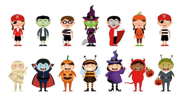 Conjunto de halloween com crianças traje
