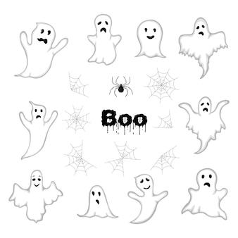 Conjunto de halloween com elencos. estilo dos desenhos animados. vetor.