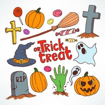 Conjunto de halloween. conjunto com símbolos de férias bonitos. ilustração desenhada à mão