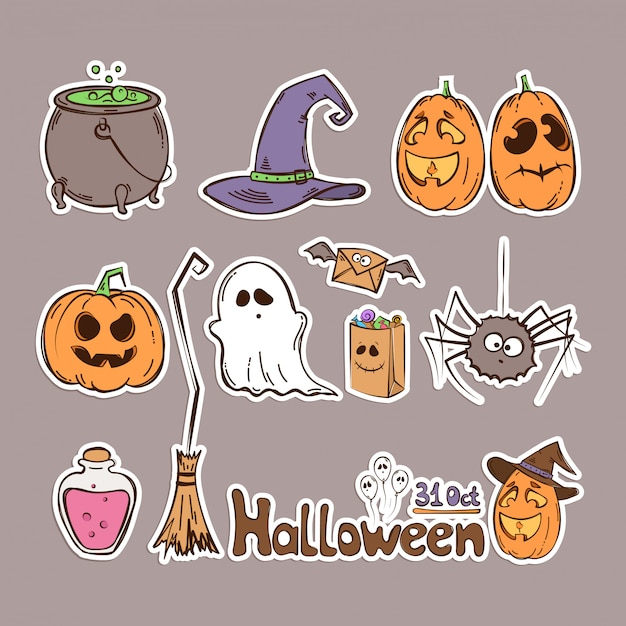 Conjunto de halloween de ícones. adesivos