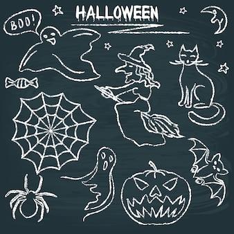 Conjunto de halloween de lousa