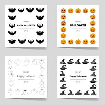 Conjunto de halloween de molduras para o seu texto com atributos tradicionais. estilo de desenho animado. ilustração vetorial.