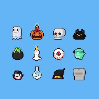 Conjunto de halloween de pixel art cartoon. Vetor Premium