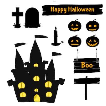Conjunto de halloween de silhuetas com atributos tradicionais. estilo dos desenhos animados. vetor.