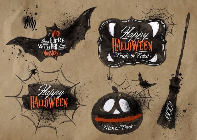 Conjunto de halloween, desenhados símbolos de halloween abóbora, vassoura, lettering desenho em papel kraft