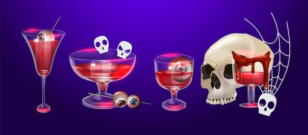 Conjunto de halloween feliz de ilustração vetorial. pode ser usado para cartaz, banner, cartão de cumprimentos, adesivo, mosca ou plano de fundo. há uma imagem de elementos para a festa de halloween. desenho animado festivo colorido.