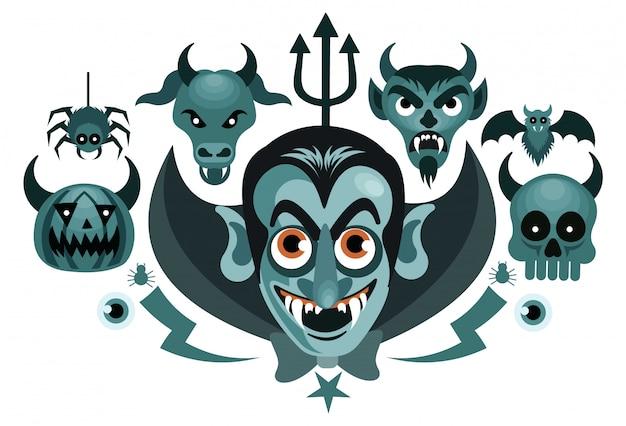 Conjunto de halloween gráficos spooky vector illustration