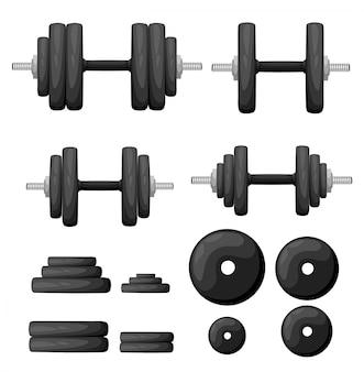 Conjunto de halteres dobrados normais e deformados em branco. equipamento de esporte, levantamento de peso, exercício, força e conceito de ginástica. estilo. ilustração, sem transparência.