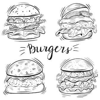 Conjunto de hambúrguer desenhado à mão