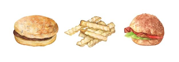 Conjunto de hambúrguer e batatas fritas. ilustração em aquarela.