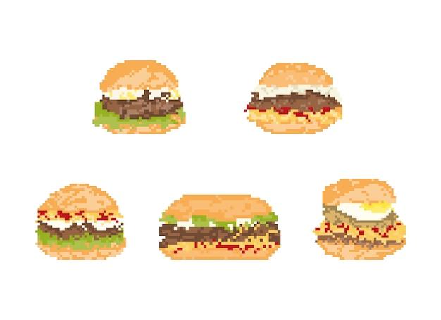 Conjunto de hambúrguer em pixel art. arte 8 bits