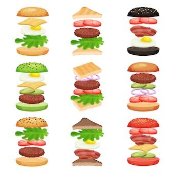 Conjunto de hambúrgueres e sanduíches com ingredientes a voar. saborosa comida rápida. lanche delicioso. design plano para menu de aplicativo ou café móvel