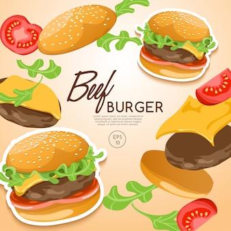 Conjunto de hambúrgueres: hambúrguer preto com ingredientes: ilustração