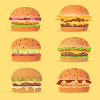 Conjunto de hambúrgueres. ilustração dos desenhos animados vetor eps 10