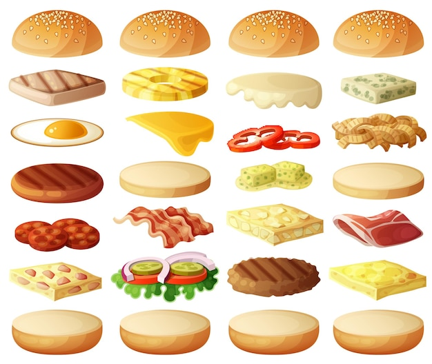 Conjunto de hambúrgueres ingredientes pães queijo bacon tomate cebola alface pepino