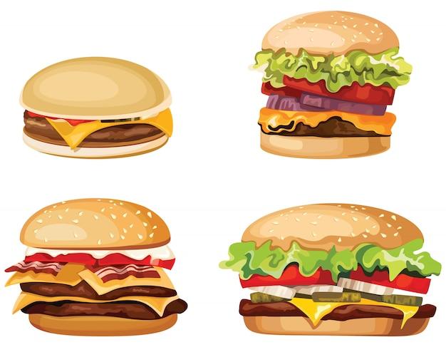 Conjunto de hambúrgueres isolados no fundo branco. fast-food em estilo cartoon. Vetor Premium