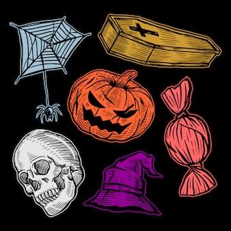 Conjunto de handrawn halloween