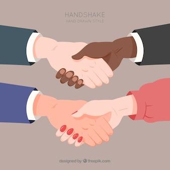 Conjunto de handshake de negócios em estilo simples
