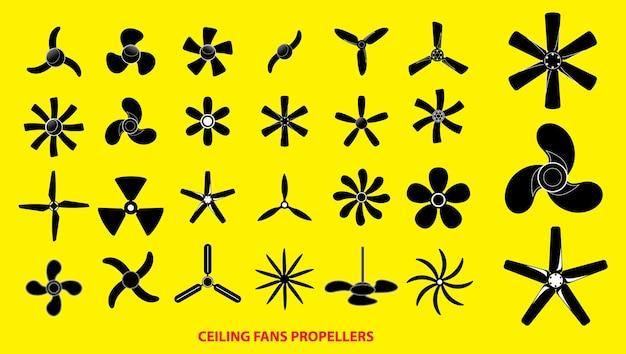 Conjunto de hélices ou hélices de ventiladores de teto ou conceito de hélices de motor