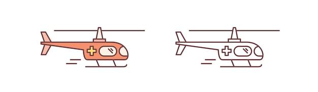 Conjunto de helicópteros ambulância coloridos e monocromáticos isolados