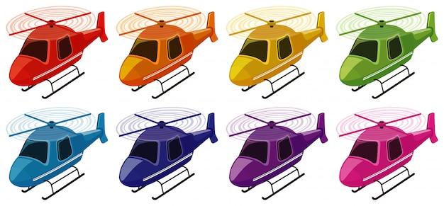 Conjunto de helicópteros em cores diferentes