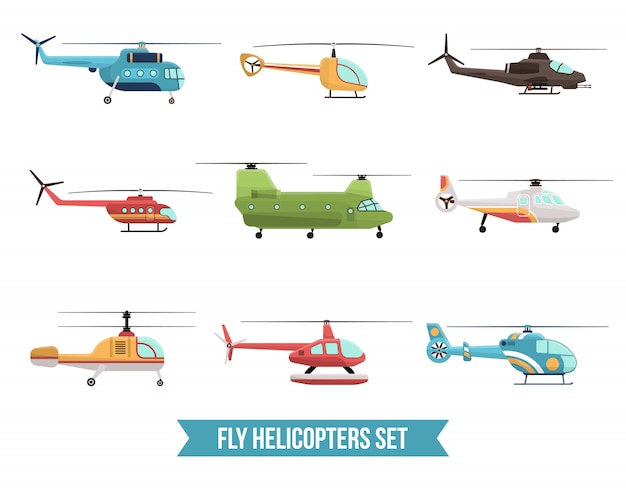 Conjunto de helicópteros voadores