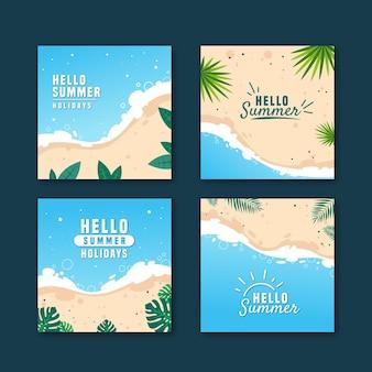 Conjunto de hello summer instagram post